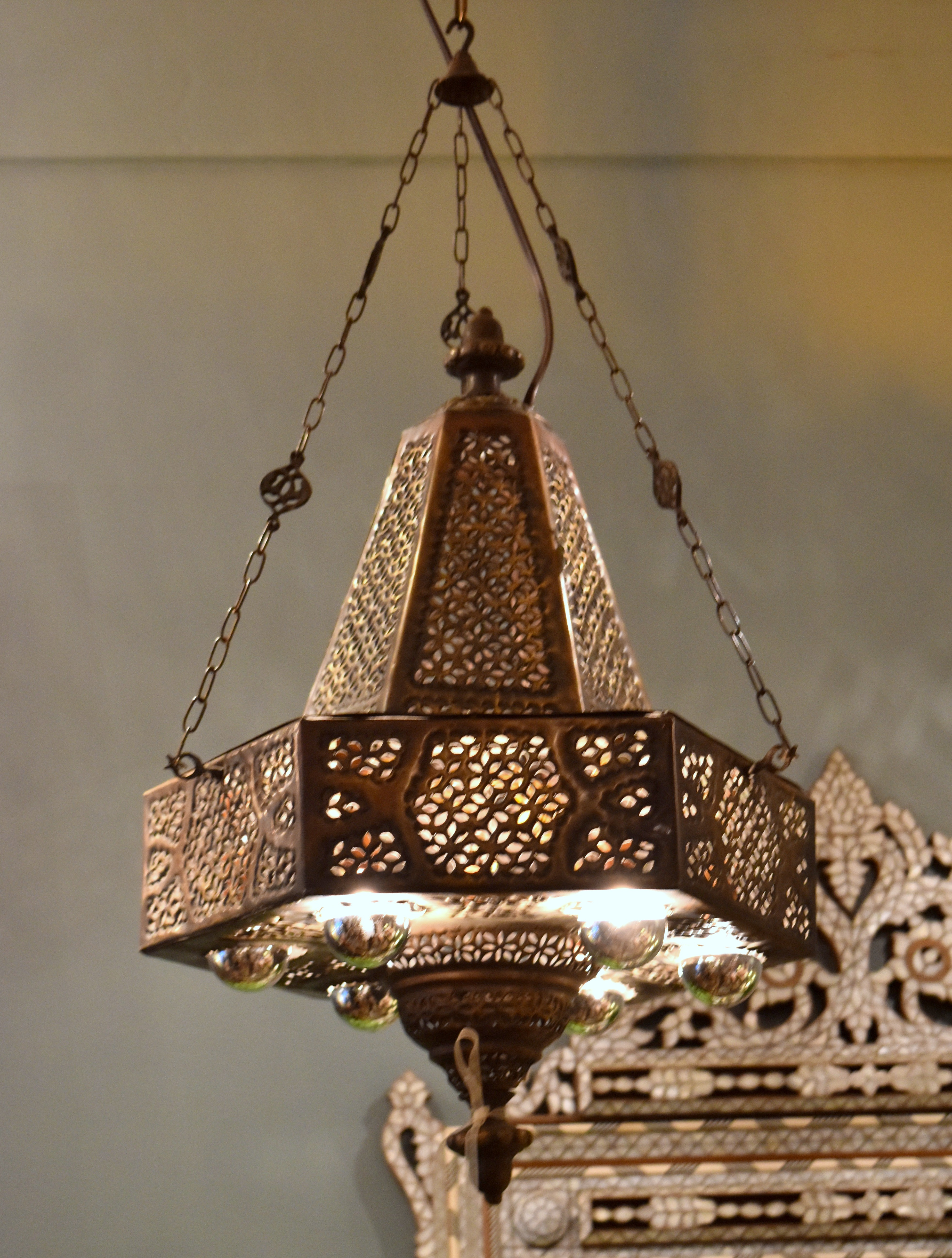 hand lighting. Antique Brass Hand Tooled Mosque Lamp Lighting