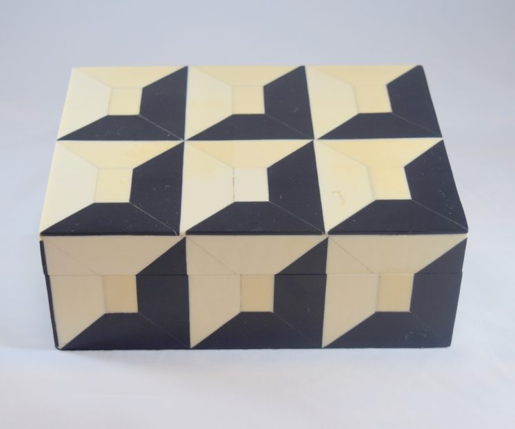 Black & Ivory Bone Inlaid Geometric Box