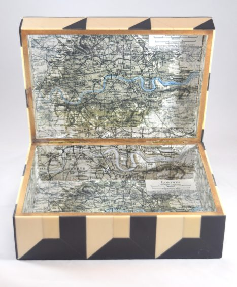 Black & Ivory Bone Inlaid Geometric Box