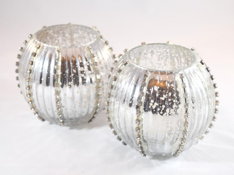 Pair of Antique Silver Jeweled Tea Lights
