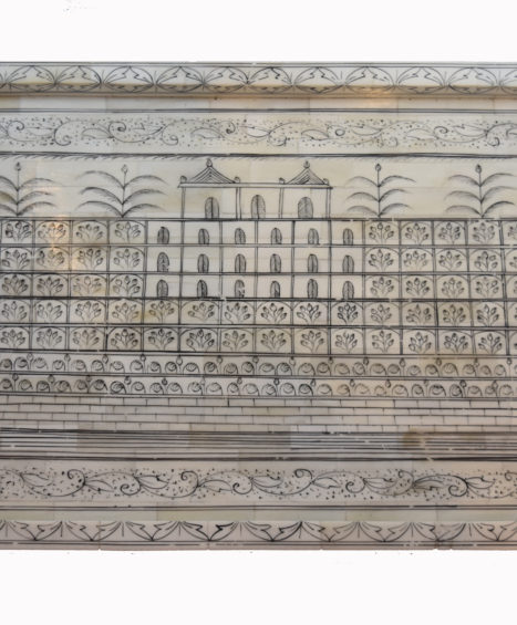 Ivory Bone Tray with Inlaid Black Penwork