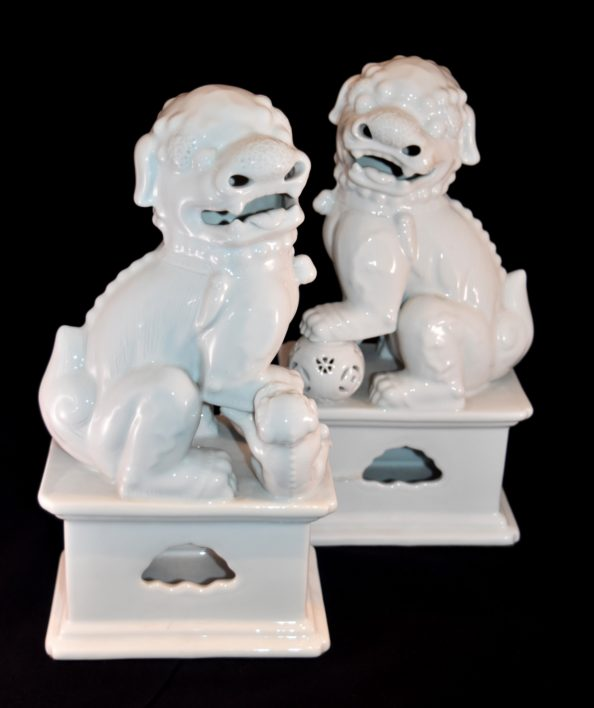 Pair of White Glazed PorcelainFoo Dogs