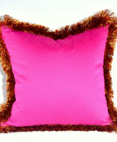 Paloma Boysenberry Pillow with Venetian Fringe