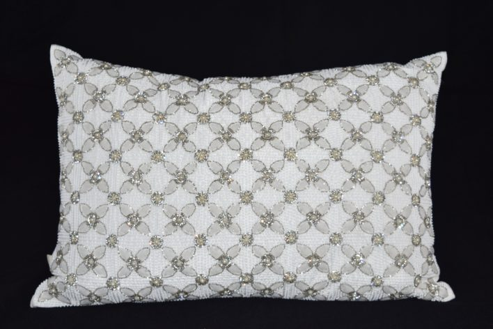White Beaded Flower Pillow