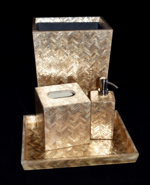 Handa Capiz Herringbone Bathroom Set